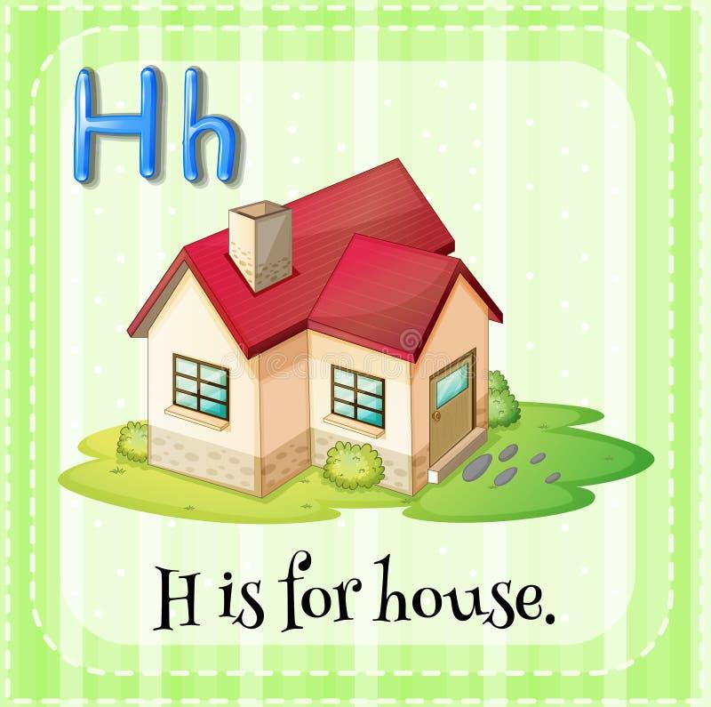 Flashcard list H jest dla domu ilustracja wektor