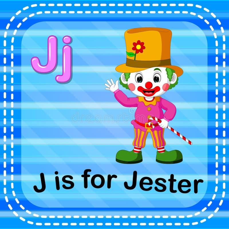 Flashcard list J jest dla dowcipnisia ilustracja wektor