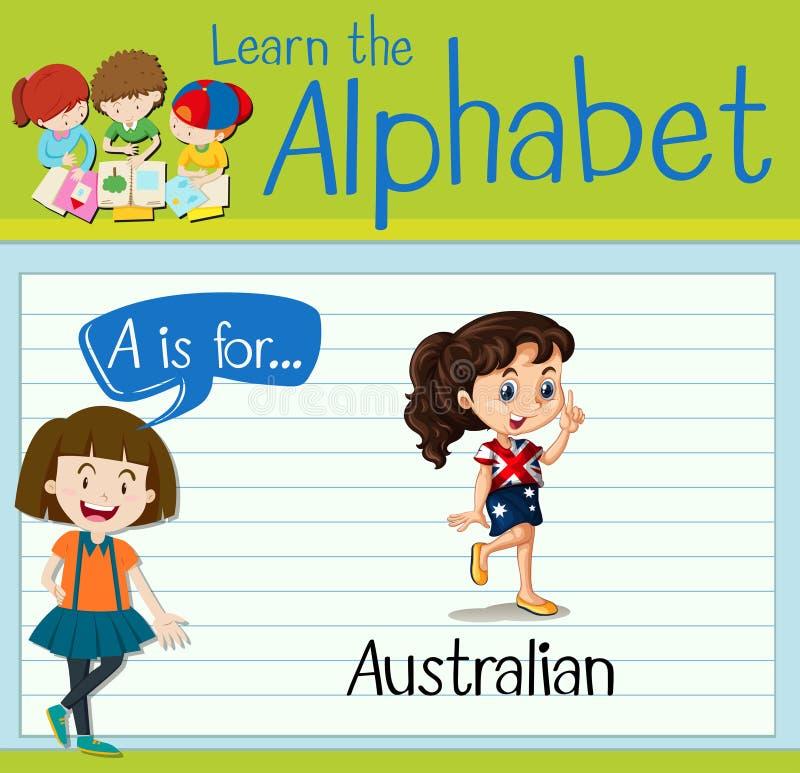Flashcard list A jest dla australijczyka royalty ilustracja