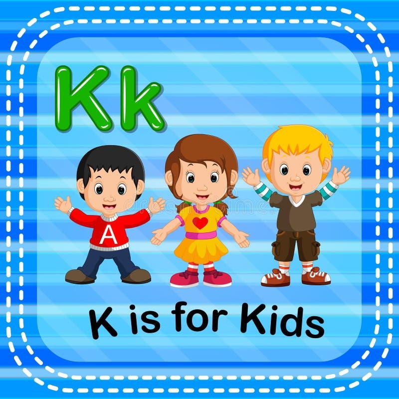 Flashcard list K jest dla dzieciaków royalty ilustracja
