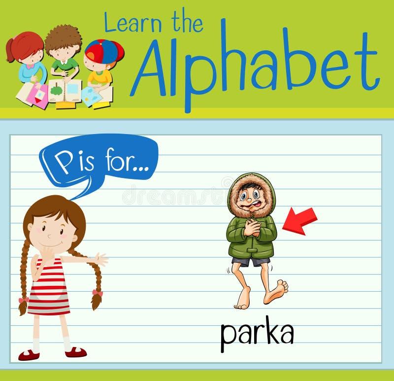 Flashcard list P jest dla parka ilustracji