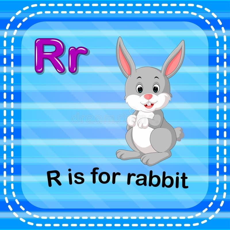 Flashcard list R jest dla królika royalty ilustracja