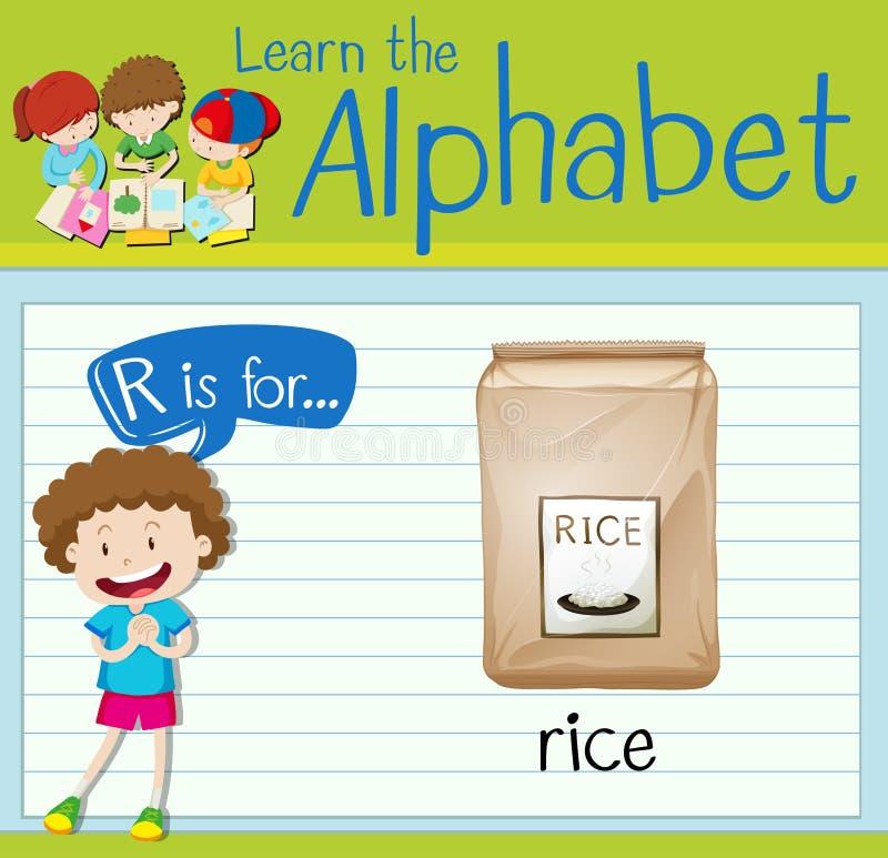 Flashcard list R jest dla ryż ilustracja wektor