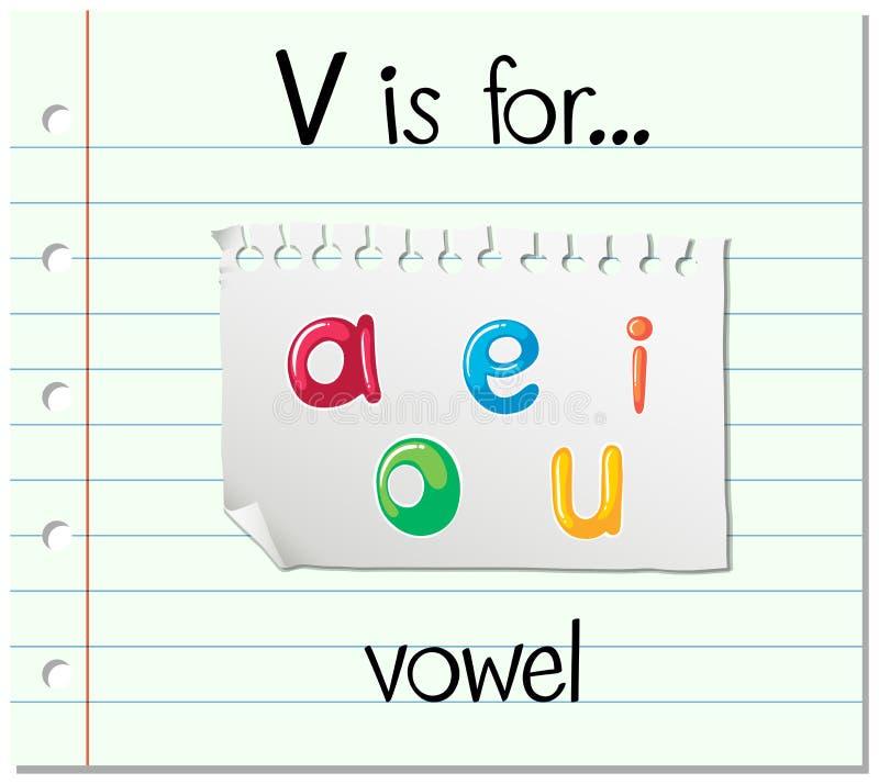 Flashcard list V jest dla samogłoski ilustracja wektor