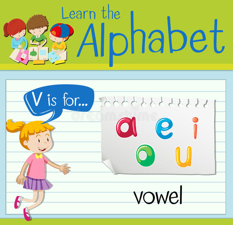 Flashcard list V jest dla samogłoski ilustracji