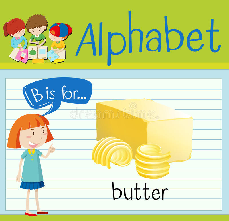 Flashcard listu b jest dla masła ilustracja wektor
