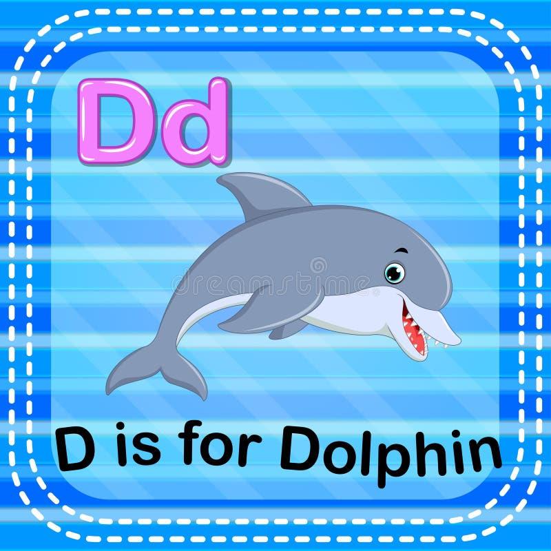 Flashcard listu d jest dla delfinu royalty ilustracja
