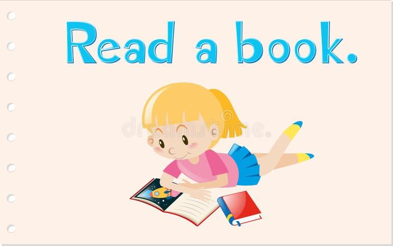 Flashcard met actiewoord las een boek royalty-vrije illustratie