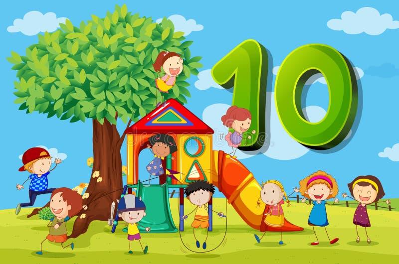 Flashcard número 10 con diez niños en el parque stock de ilustración
