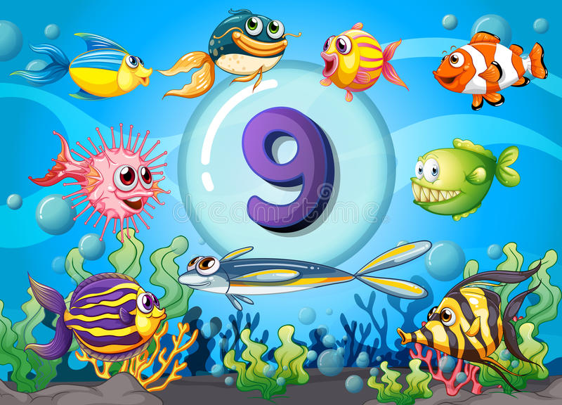 Flashcard Nr. neun mit neun Fischen Unterwasser lizenzfreie abbildung