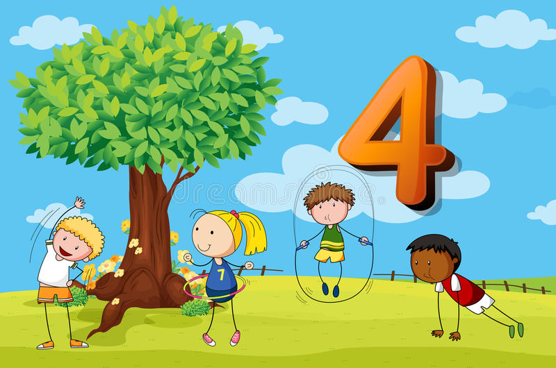 Flashcard number 4 with four children in the park royalty free illustration