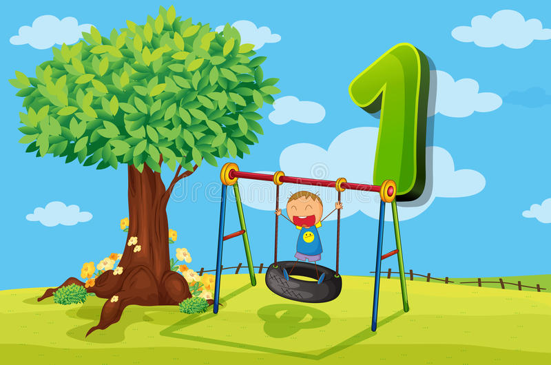 Flashcard number 1 with one children in the park royalty free illustration