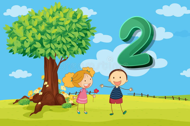 Flashcard number 2 with two children in the park stock illustration