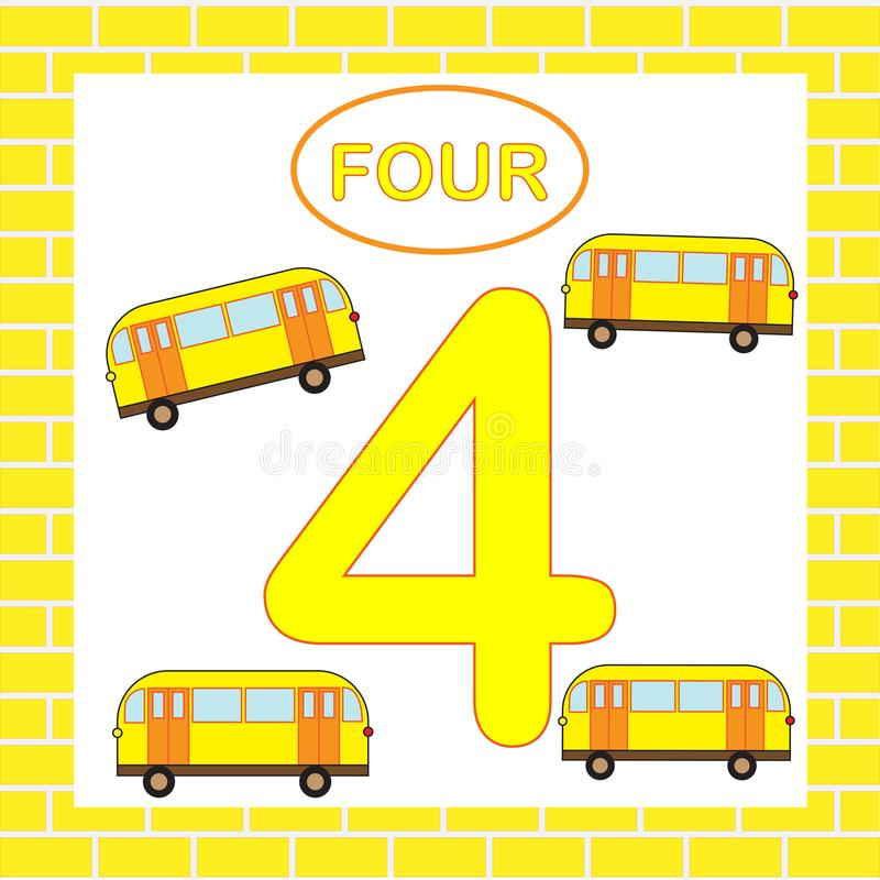 Flashcard numero 4 quattro, bus, trasporto Carta educativa per i bambini royalty illustrazione gratis