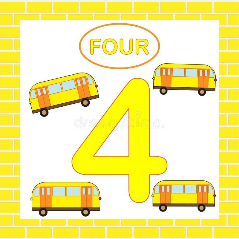 Flashcard nummer 4 fyra, buss, transport Bildande kort för barn royaltyfri illustrationer