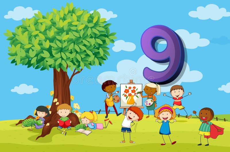 Flashcard nummer 9 med nio barn i parkera royaltyfri illustrationer