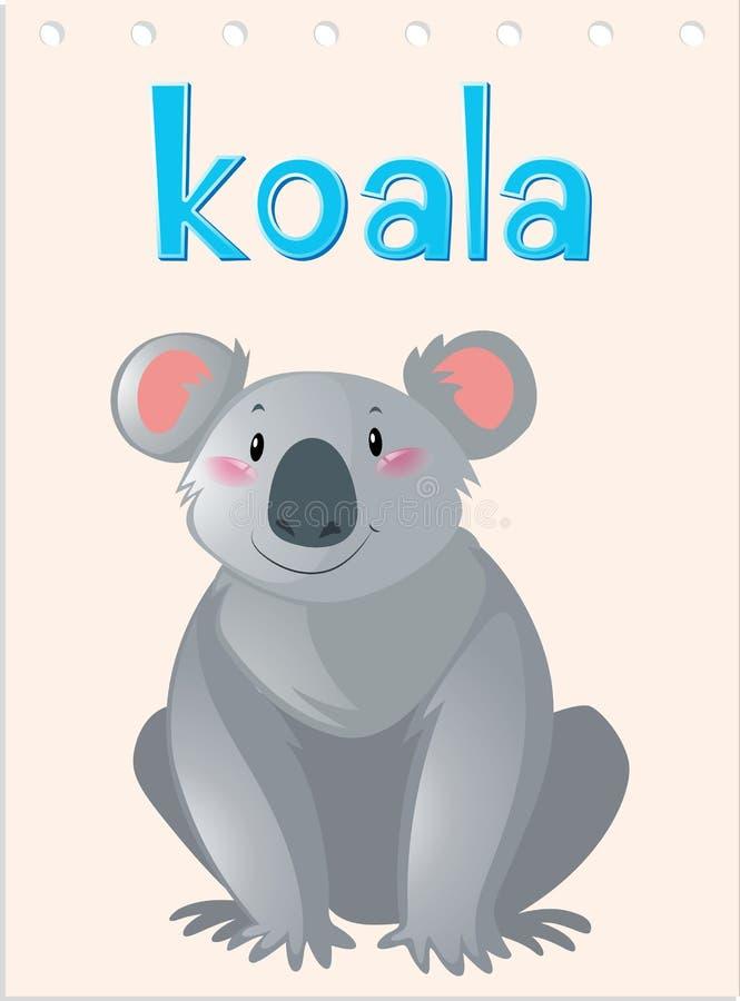 Flashcard-Tier mit Koala stock abbildung