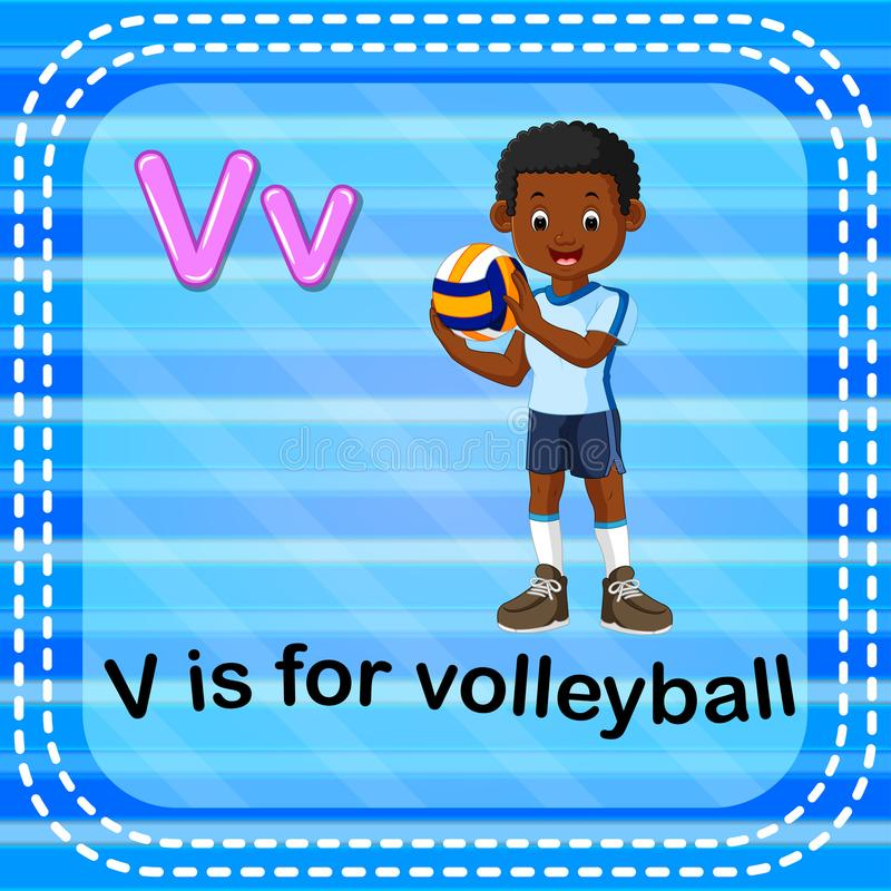 Flashcardbrief V is voor volleyball vector illustratie