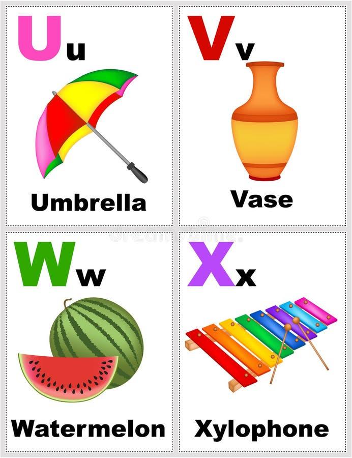 Flashcards del alfabeto stock de ilustración