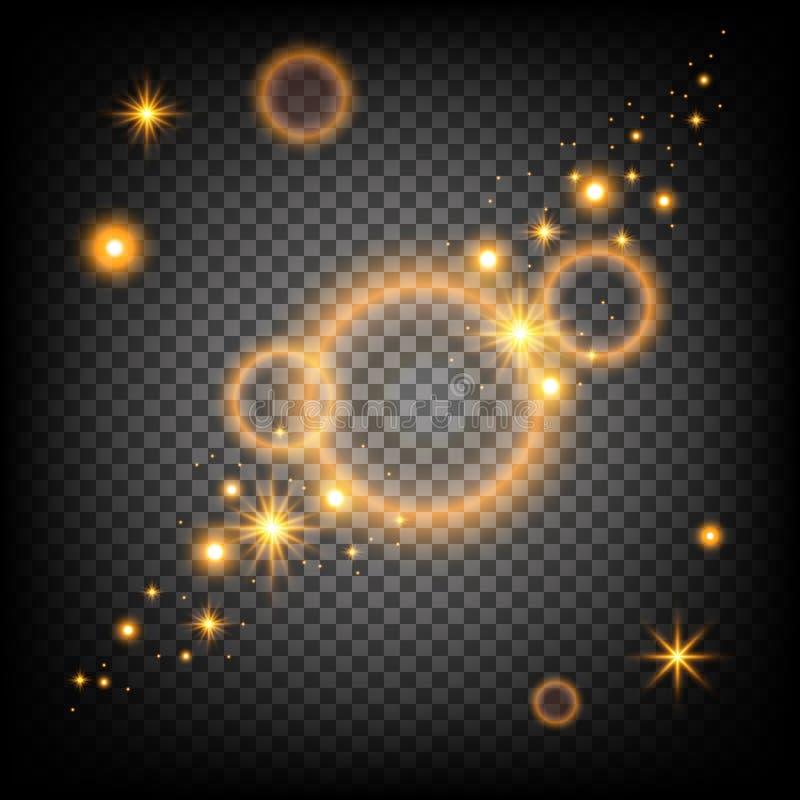 Flashes légers d'or de scintillement Étincelles et lig éclatants d'étoile illustration de vecteur