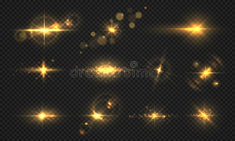 Flashes lights and sparks. Realistic golden shiny flare, transparent sun light effects, particles and star burst. Vector. Shining sparks set stock illustration