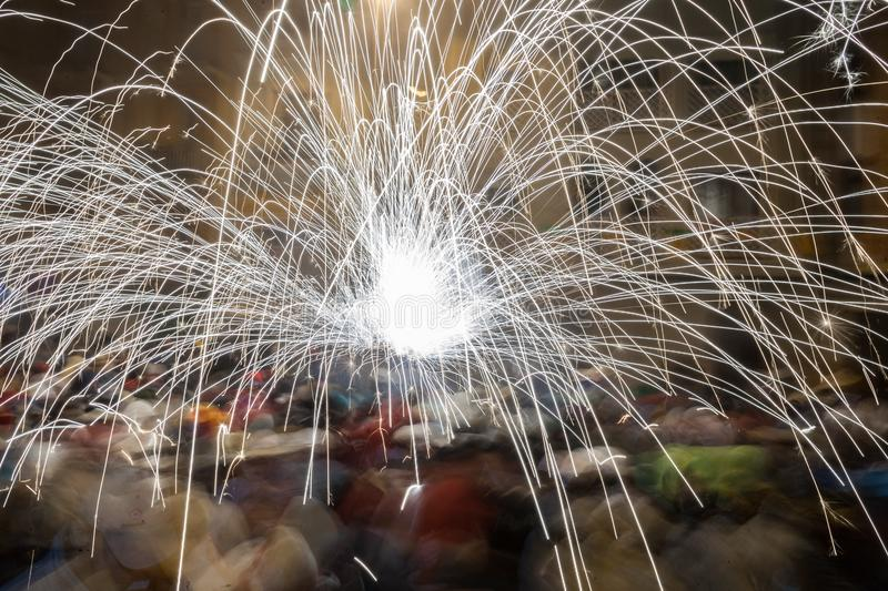 Flashes of a sparkler. During a festival at night royalty free stock image