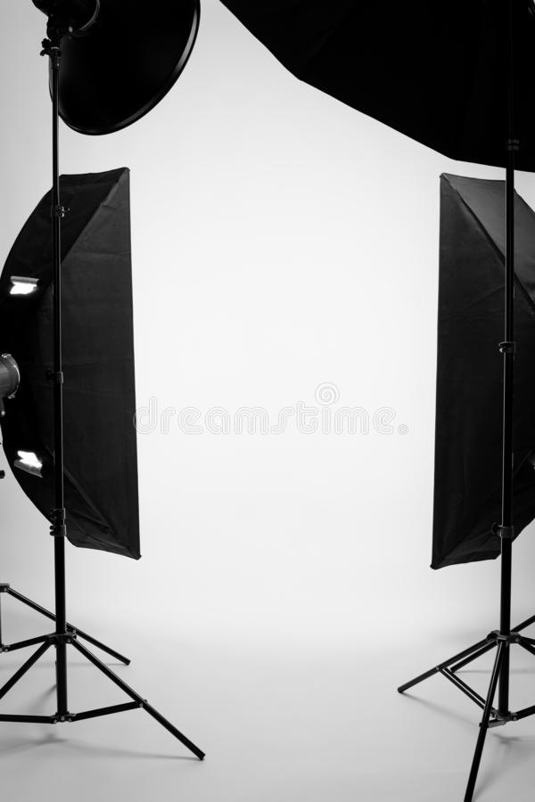 Flashes on a white background in the studio, there are no people. In the frame royalty free stock photos