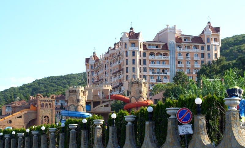 Vacation complex kitschy architecture. Sham kitsch architecture in Bulgarian summer resort Elenite royalty free stock photos