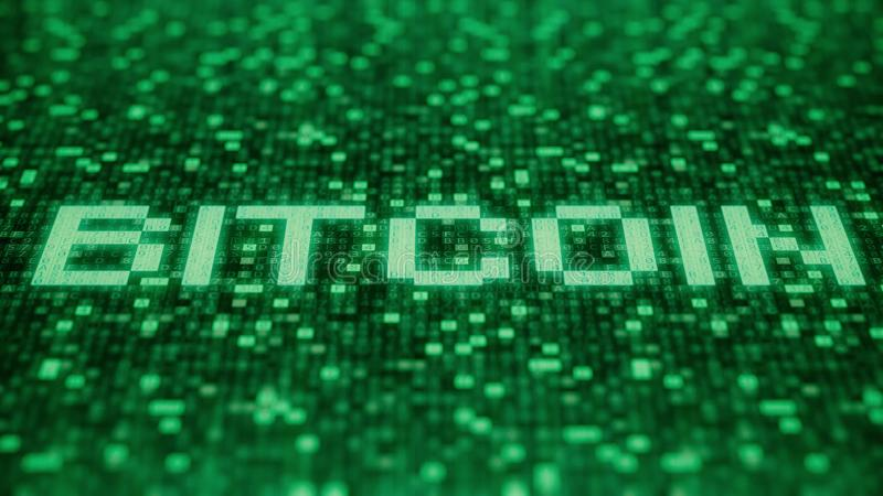 Flashing hexadecimal symbols on a green computer screen compose BITCOIN word. 3D rendering. Hexadecimal symbols flashing on a green computer screen stock illustration