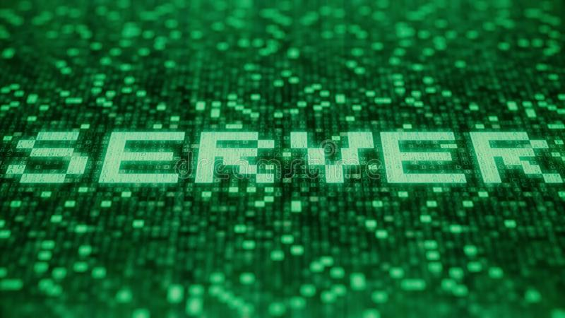 Flashing hexadecimal symbols on a green computer screen compose SERVER word. 3D rendering. Hexadecimal symbols flashing on a red computer screen vector illustration