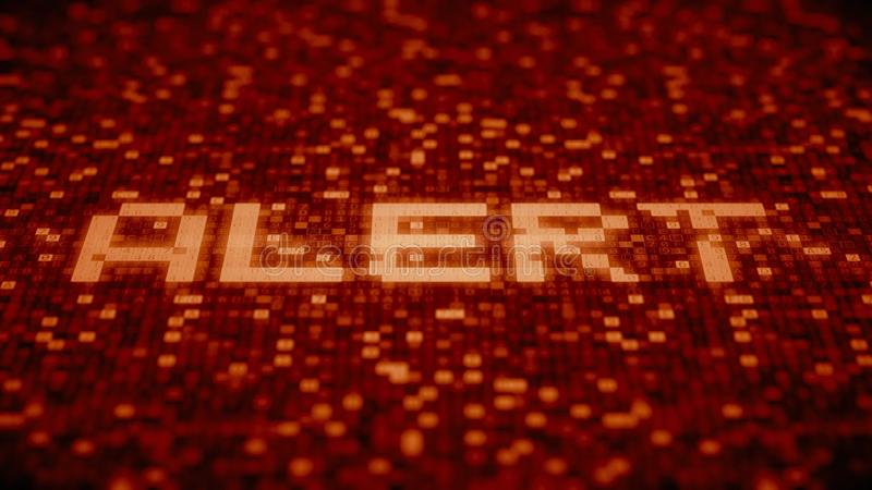 Flashing hexadecimal symbols on a red computer screen compose ALERT word. 3D rendering. Hexadecimal symbols flashing on a red computer screen vector illustration