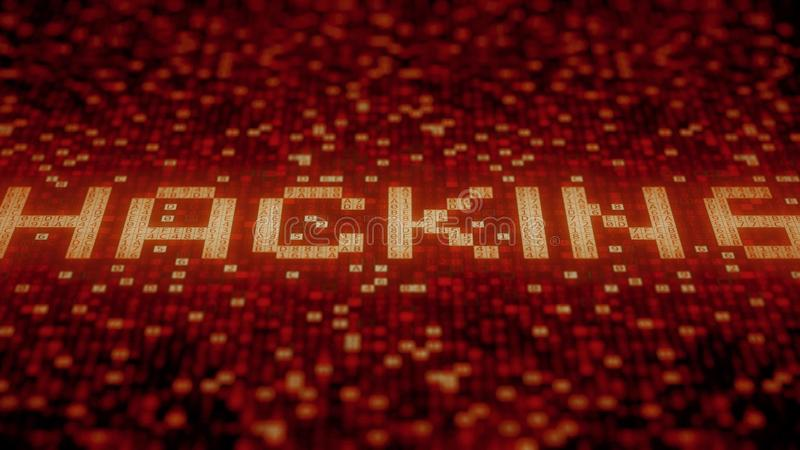 Flashing hexadecimal symbols on a red computer screen compose HACKING word. 3D rendering. Hexadecimal symbols flashing on a red computer screen royalty free illustration
