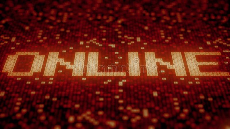Flashing hexadecimal symbols on a red screen form ONLINE word. 3D rendering. Hexadecimal symbols flashing on a red computer screen vector illustration