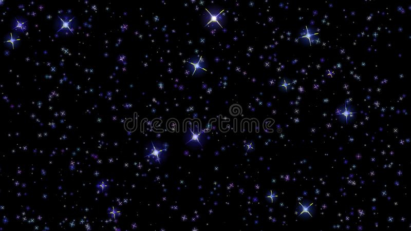 Flashing stars, starry sky, appear and disappear on a black background. Flashing stars, starry sky appear and disappear on a black background royalty free stock images