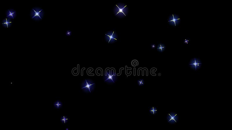Flashing stars, starry sky, appear and disappear on a black background. Flashing stars, starry sky appear and disappear on a black background stock images