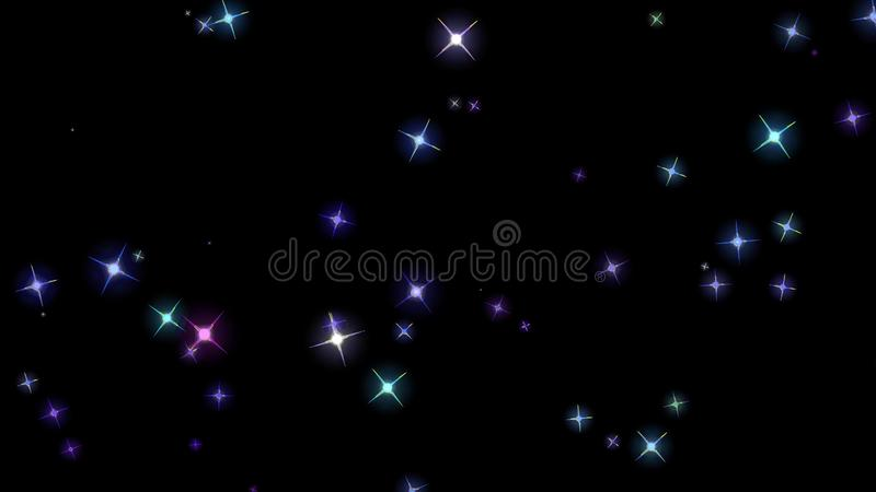 Flashing stars, starry sky, appear and disappear on a black background. Flashing stars, starry sky appear and disappear on a black background stock photography