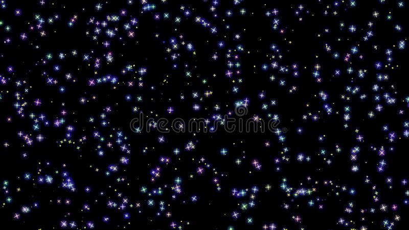 Flashing stars, starry sky, appear and disappear on a black background. Flashing stars, starry sky appear and disappear on a black background royalty free stock photography