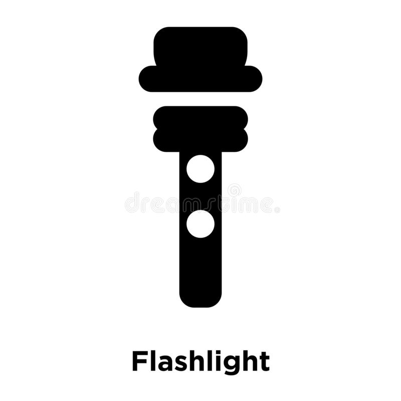 Flashlight icon vector isolated on white background, logo concept of Flashlight sign on transparent background, black filled royalty free illustration