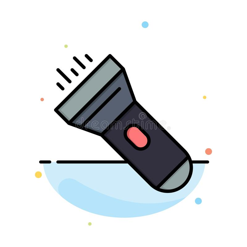 Flashlight, Light, Torch, Flash Abstract Flat Color Icon Template stock illustration