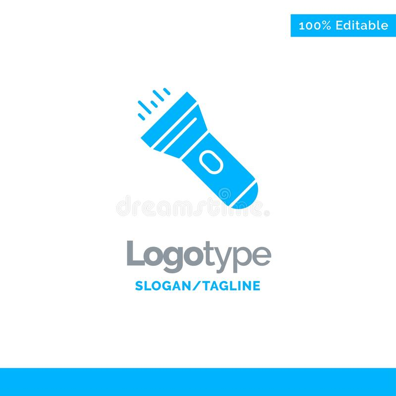 Flashlight, Light, Torch, Flash Blue Business Logo Template royalty free illustration