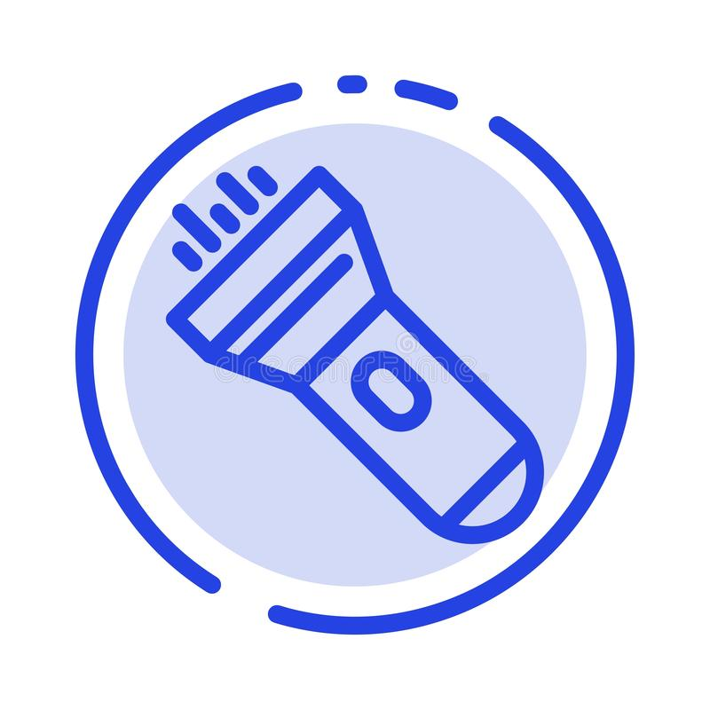 Flashlight, Light, Torch, Flash Blue Dotted Line Line Icon royalty free illustration