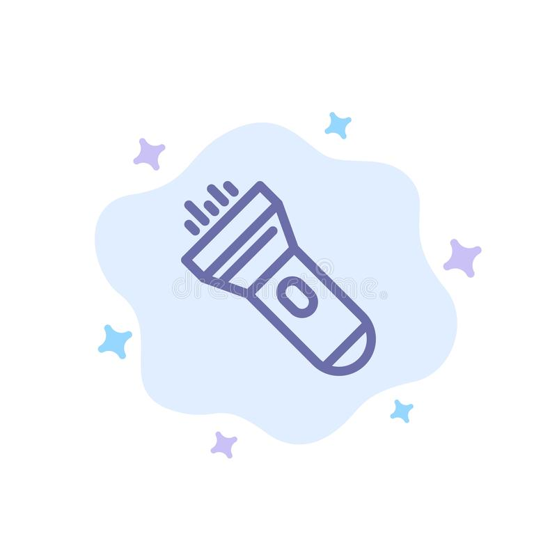 Flashlight, Light, Torch, Flash Blue Icon on Abstract Cloud Background stock illustration