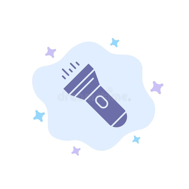 Flashlight, Light, Torch, Flash Blue Icon on Abstract Cloud Background royalty free illustration