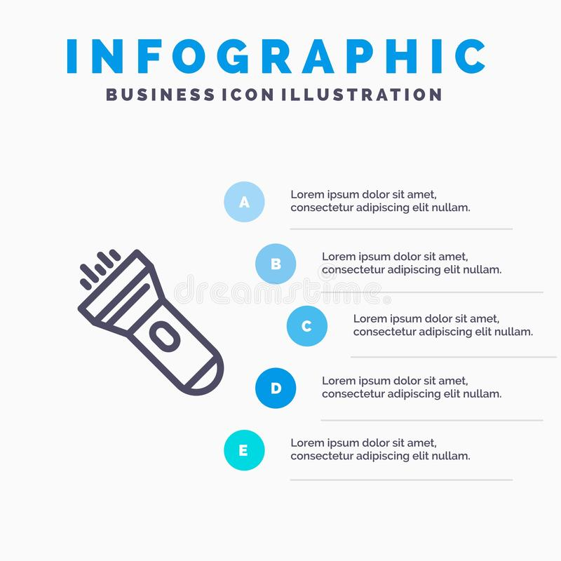 Flashlight, Light, Torch, Flash Blue Infographics Template 5 Steps. Vector Line Icon template stock illustration