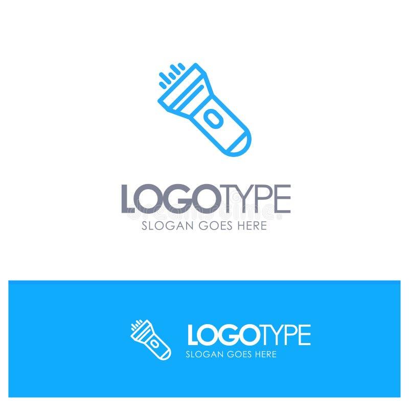 Flashlight, Light, Torch, Flash Blue Logo Line Style royalty free illustration