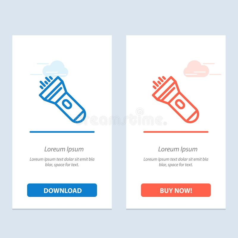 Flashlight, Light, Torch, Flash  Blue and Red Download and Buy Now web Widget Card Template vector illustration