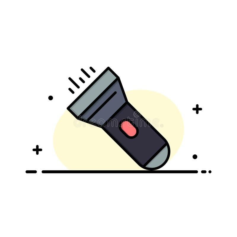 Flashlight, Light, Torch, Flash Business Logo Template. Flat Color stock illustration