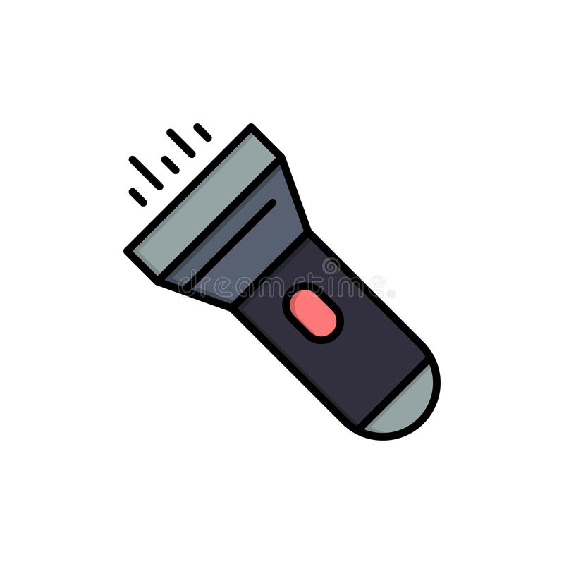 Flashlight, Light, Torch, Flash  Flat Color Icon. Vector icon banner Template vector illustration