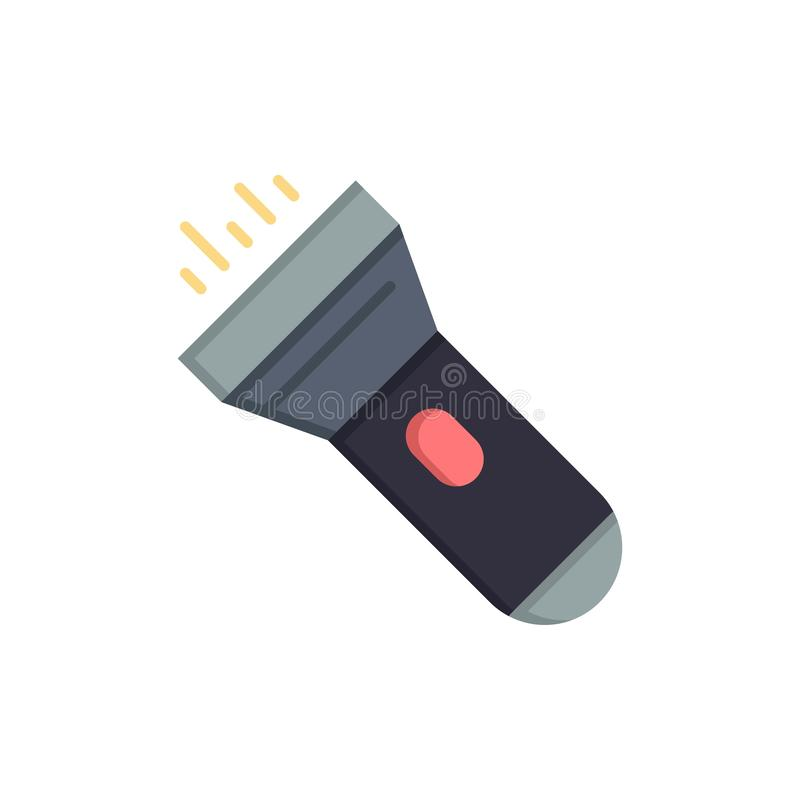 Flashlight, Light, Torch, Flash  Flat Color Icon. Vector icon banner Template royalty free illustration