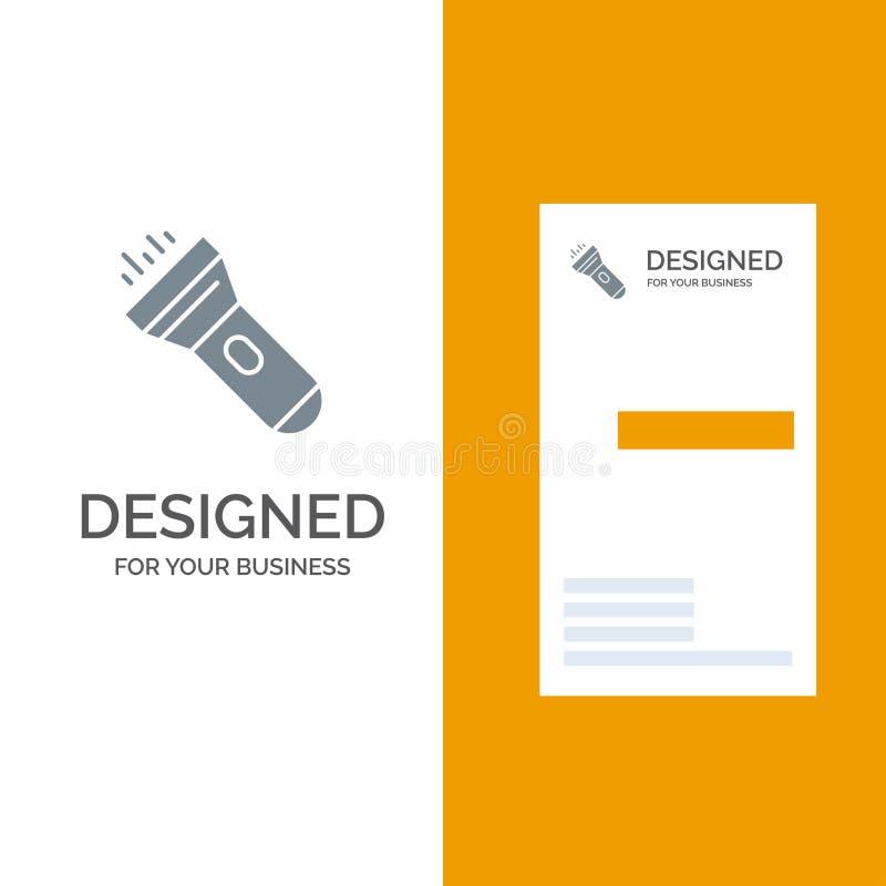 Flashlight, Light, Torch, Flash Grey Logo Design and Business Card Template stock illustration